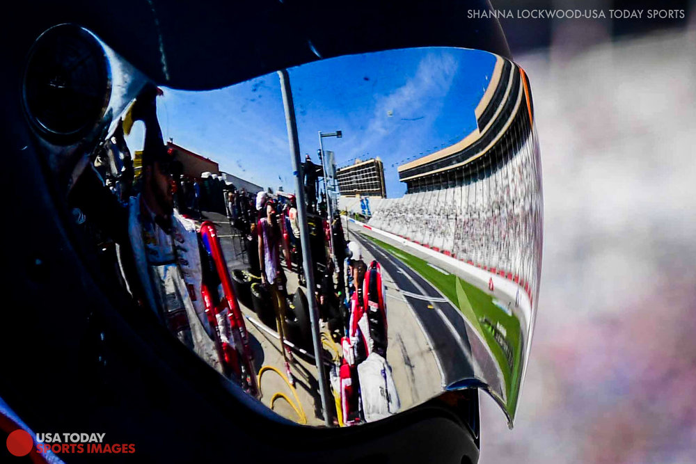 Mar 4, 2017; Hampton, GA, USA; Reflection of the track in the helmet of a pit crew member at Atlanta Motor Speedway. Mandatory Credit: Shanna Lockwood-USA TODAY Sports