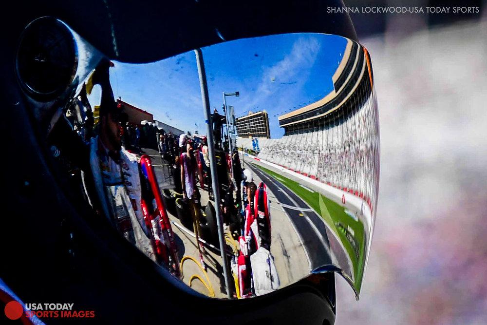 Mar 4, 2017; Hampton, GA, USA; Reflection of the track in the helmet of a pit crew member at Atlanta Motor Speedway. Mandatory Credit: Shanna Lockwood-USA TODAY Sports