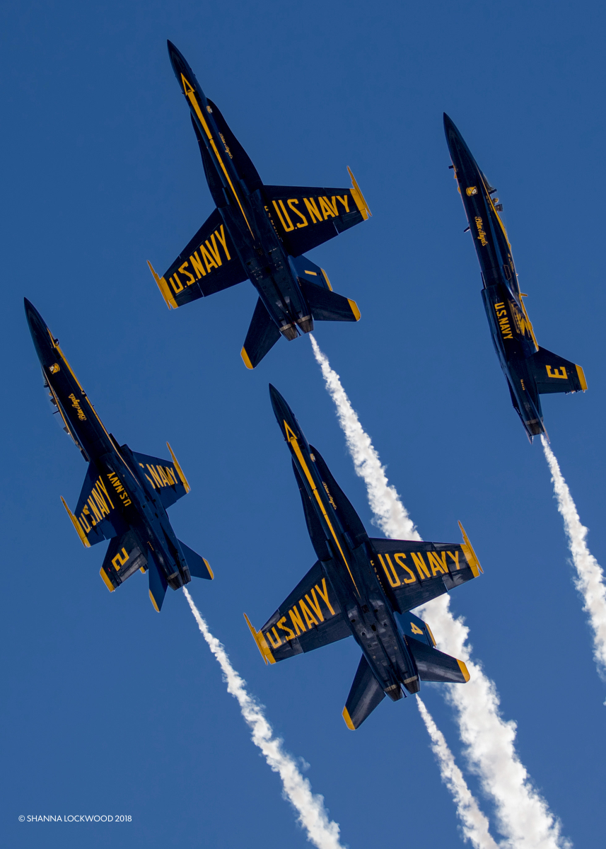 Apr 28, 2018; Blue Angels fly during the 2018 Myrtle Beach Air Show in Myrtle Beach, South Carolina. Mandatory Credit: Shanna Lockwood