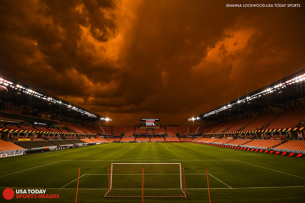 Jul 3, 2018; Houston, TX, USA; View of storm clouds over the stadium as fans are evacuated from the seats before the game between the Houston Dynamo and the Los Angeles FC at BBVA Compass Stadium. Mandatory Credit: Shanna Lockwood-USA TODAY Sports