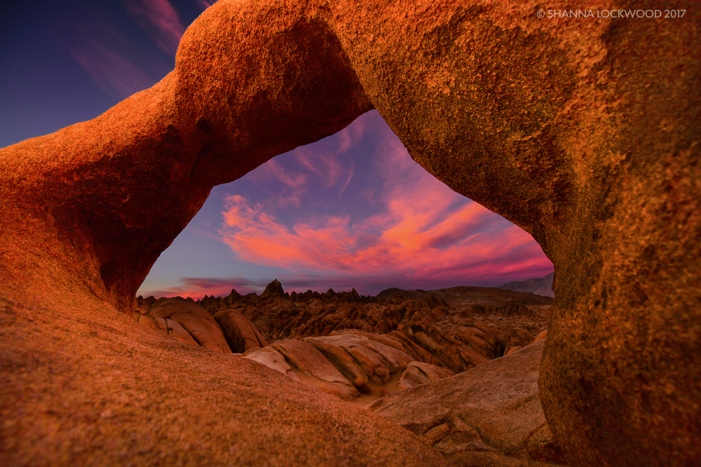 Nov 9, 2017; Death Valley, CA, USA; Sunset at Mobius Arch in Lone Pine, California. Copyright: Shanna Lockwood