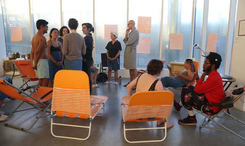A community conversation at   Sweat it Out   (photo by  Lani Asuncion .)