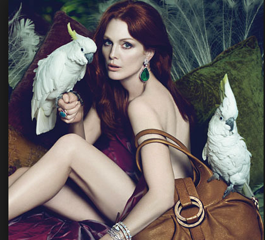 Julianne Moore, a true Sagittarius, out in the wild with exotic birds and her flaming red hair!