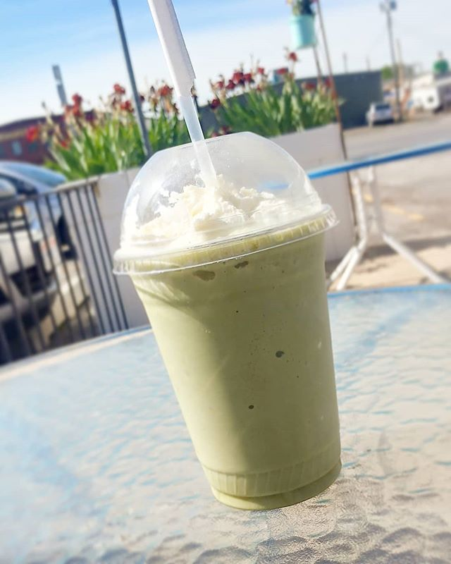 We have Matcha Frappe's that are a perfect summer treat!!!! Come get one today!! #local #matcha #frappe