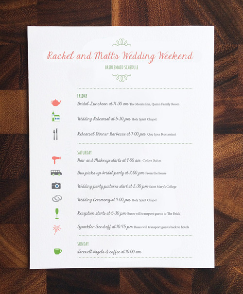 Wedding Schedule of Events — Rosebud Paper | Paper Goods and ...