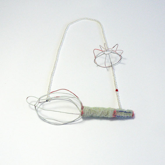 OT -   New silver, wool, pearls, synthetic coral,paint2011