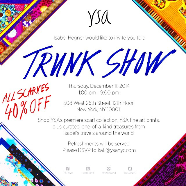 Next Thursday, Dec 11! 1-9pm! Join us for the #YSANYC #TrunkShow! Gift scarves this holiday season! RSVP to kati@ysanyc.com #shop #giftideas #scarflife #fashion #nyc