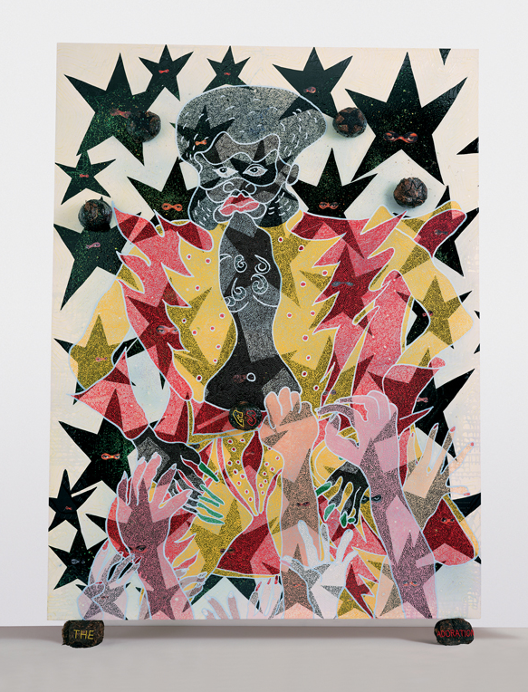 michaelswaney: Chris Ofili, The Adoration of Captain Shit and the Legend of the Black Stars, 1998. Oil paint, polyester resin, paper collage, glitter, map pins and elephant dung on canvas, 95.98 x 71.97 inches (243.8 x 182.8 cm)