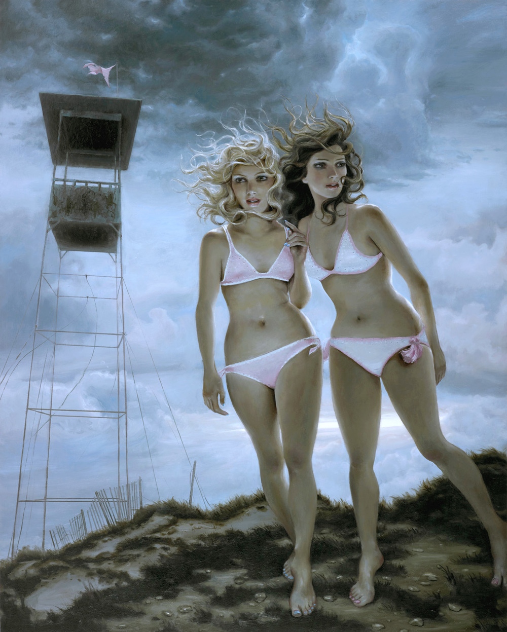 """Crochet Bikinis"" - oil on panel - 48x60 in - 2012"