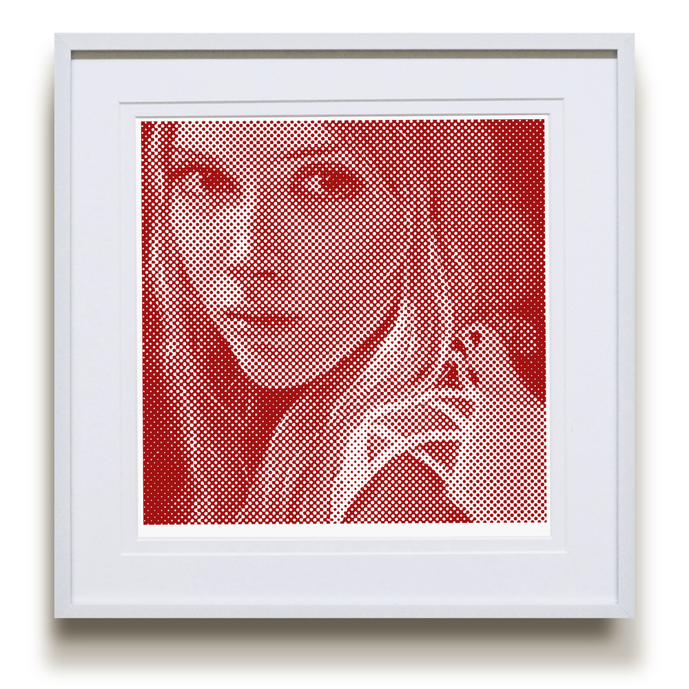 "Framed ""Influence Technique 1"" Halftone, Crimson"