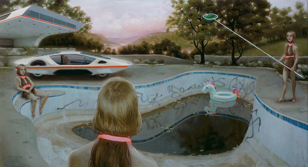 """Prefrontal Pool Party"" - oil on linen - 26x48 in - 2016"
