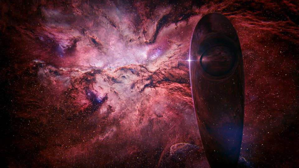 A typical scene of the SOTI traveling through the cosmos, every shot is stunning and can stand on its own.