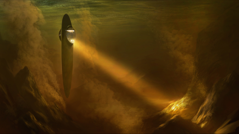 A VFX shot of the SOTI underwater on the Saturn moon Titan, the only other known object besides earth to contain surface liquid.