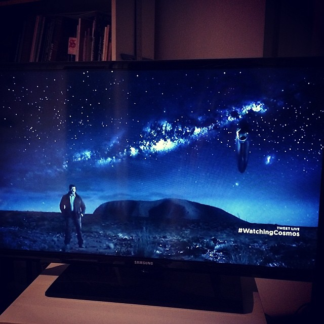 In this scene, Neil Degrasse Tyson is standing in the best star gazing spot on the planet: the Australian outback. (The Ship of the Imagination hangs out in the background)