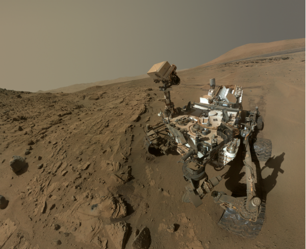 A Rover selfie assembledfrom many composites. Image provided by NASA.