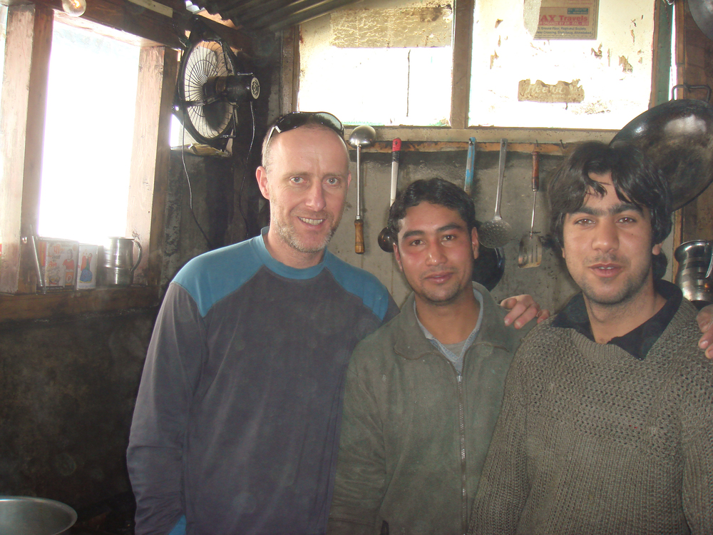 Shep with the boys at the Green Punjabi Dhaba in Gulmarg, Indian Kashmir