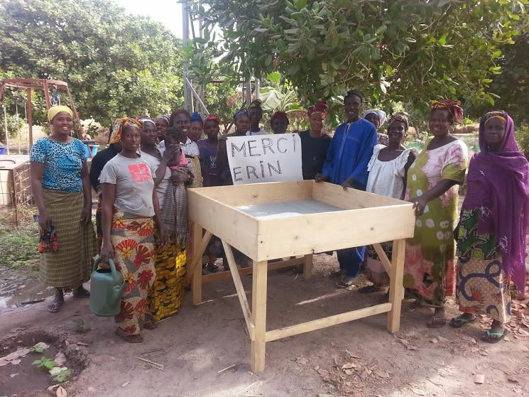 Gratitude from the farmers who were able to build a raised vegetable bed with funds donated from last year's yoga, chocolate and fruit tasting event. Photo by Yaguemar Diop