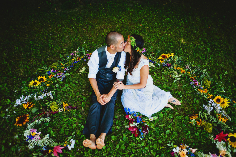 """Hi Erin, just wanted to say thank for helping to make our special day everything we had hoped it would be! The flower mandala was beautiful!"" Allison and Mike Wedding Ceremony, July 9, 2016  Photo provided by Allison Guerra"