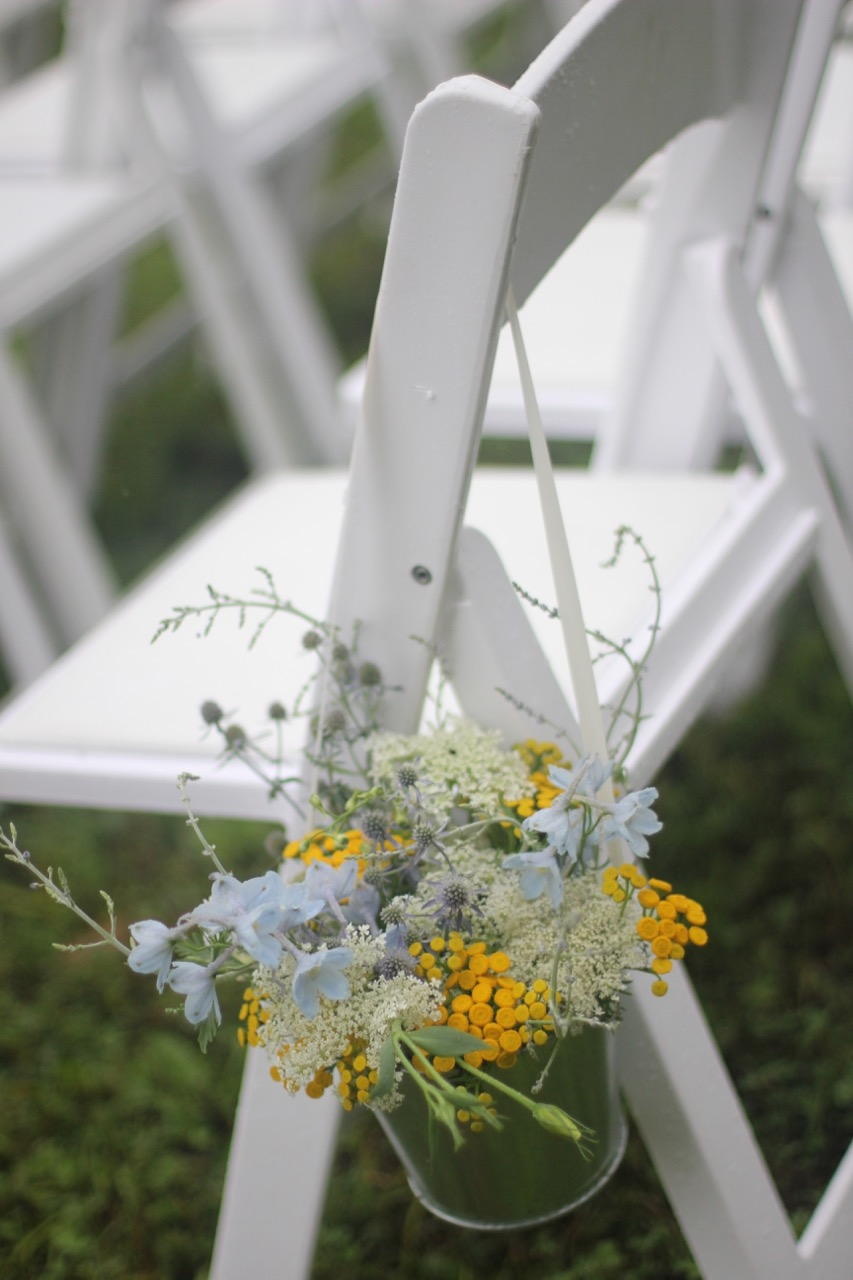 Flower bouquet for wedding ceremony chair decor