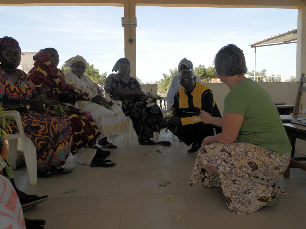 Sharing tips and lessons on bee behavior and beekeeping with the Missirah women. Photo by Alpha Ba, AfriCorps