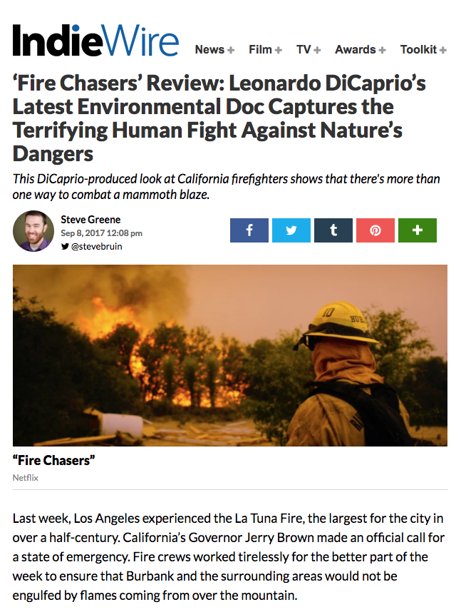 Indiewire-Fire Chasers-Netflix-DiCaprio-Steven Holleran-Cinematographer.png