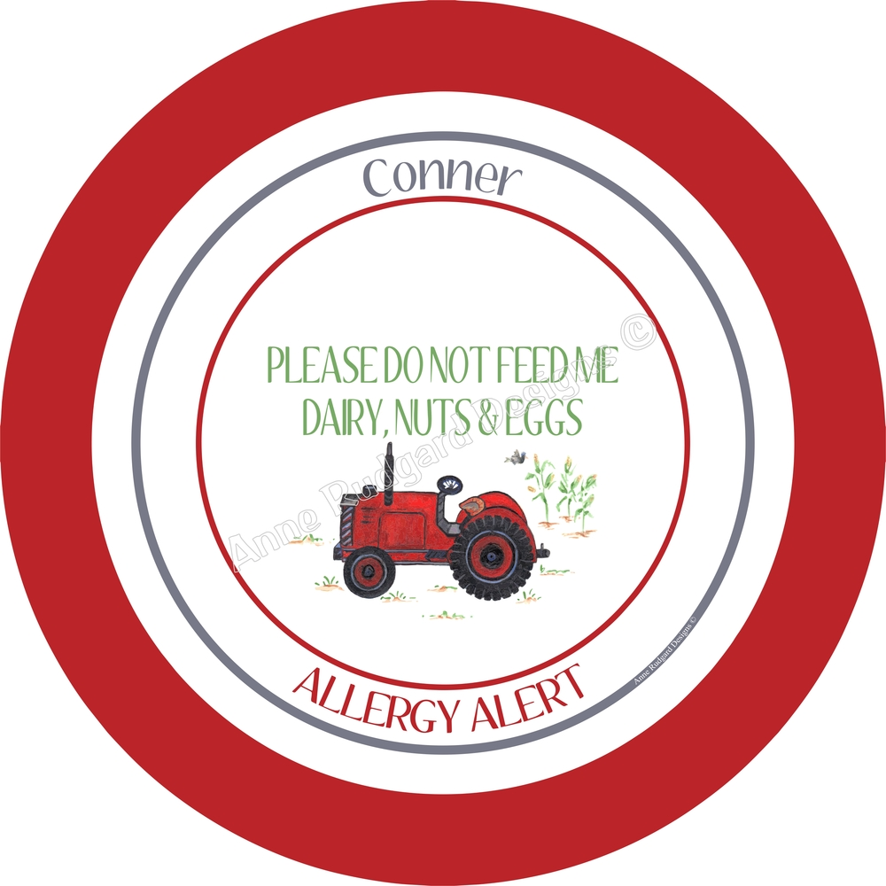 Personalized Melamine Plate Bowl - Allergy Alert - Tractor.    sc 1 st  Anne Rudgard Designs & Personalized Melamine Plates u0026 Bowls u2014 Anne Rudgard Designs