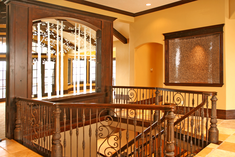 Murdoch Staircase off of Entry / Custom glass panel