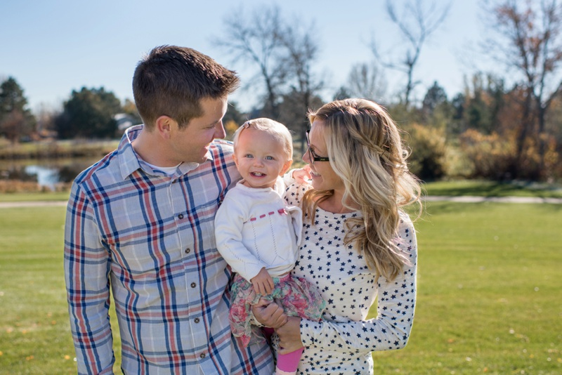 Adorable family portrait in a sunny park on a fall day in Fort Collins, Colorado- image by Sonja K Photography, outdoor film photographer in the Rocky Mountains.