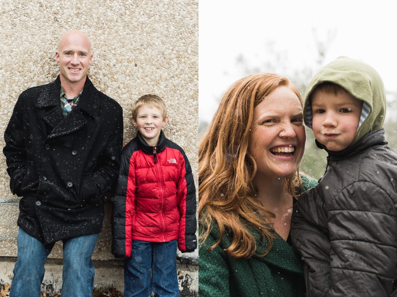 A smiling father and son and happy mother and son puffing out his cheeks.  Family portraits on a snowy wet day at City Park in Denver, Colorado.  Film photography by Sonja Salzburg of Sonja K Photography.