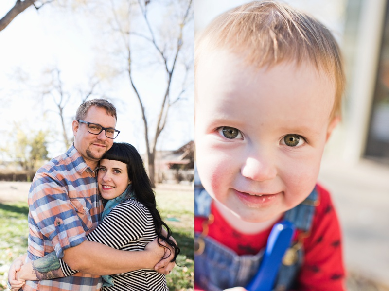 A happy hip couple in a backyard and a cute young boy in Loveland, Colorado. Film photography by Sonja Salzburg of Sonja K Photography.
