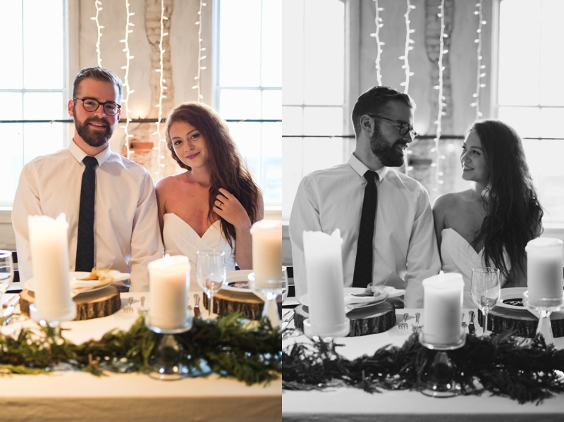 A warm, and cozy candlelit winter wedding in Old Town Fort Collins, Colorado. Film photography by Sonja Salzburg of Sonja K Photography.