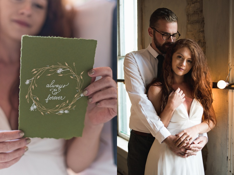 A bride reads her wedding invite with calligraphy hand written by Avo Ink. A newly married couple at their winter wedding. Styled shoot and film photography by Sonja Salzburg of Sonja K Photography.