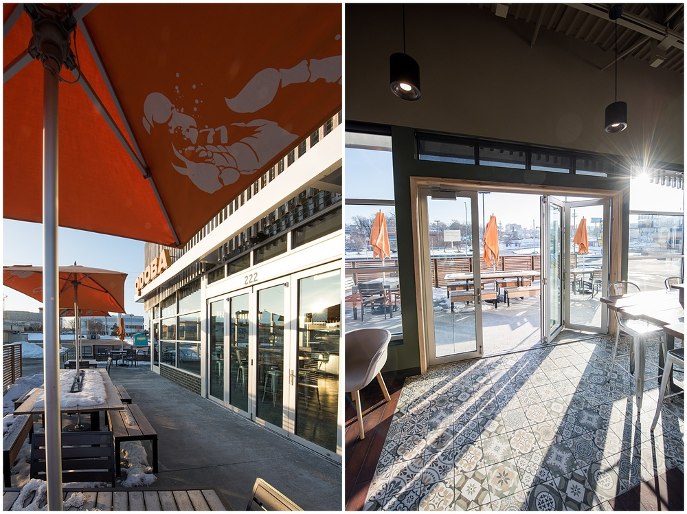 Sun-filled patios with welcoming sliding doors on the new design from the Qdoba Mexican Eats - photography by Sonja Salzburg of Sonja K Photography.