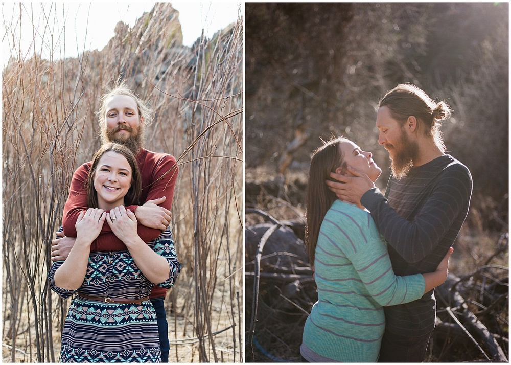 A young couple embraces in warm fall light.  Engagement photography by Sonja Salzburg of Sonja K Photography.