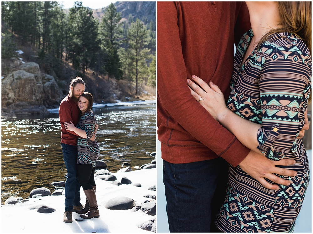 A loving young couple in the warm fall sun. Engagement photography by Sonja Salzburg of Sonja K Photography.