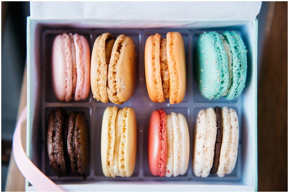 An assortment of delicious and colorful French maroons. Macaroons by Sucre. Product photography by Sonja Salzburg of Sonja K Photography.