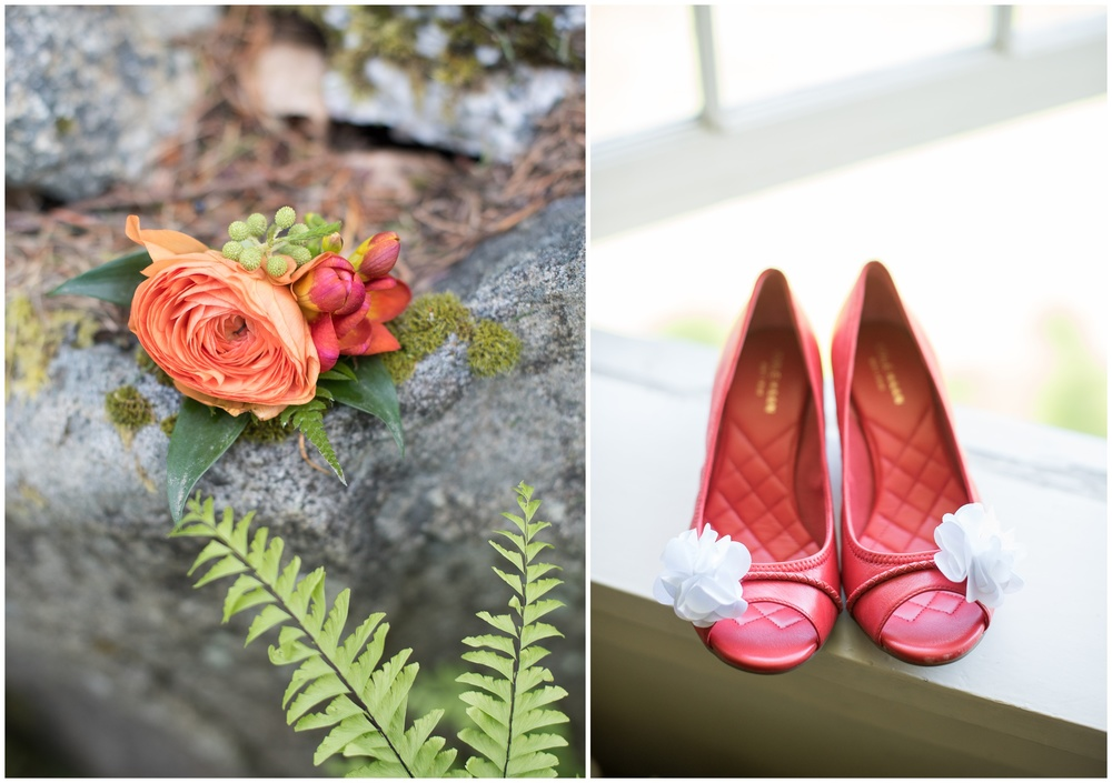 detail shots from the outdoor wedding in Bellingham Washington- red wedding shoes, orange and pink boutonniere with green fern accents - photography by Sonja Salzburg of Sonja K Photography