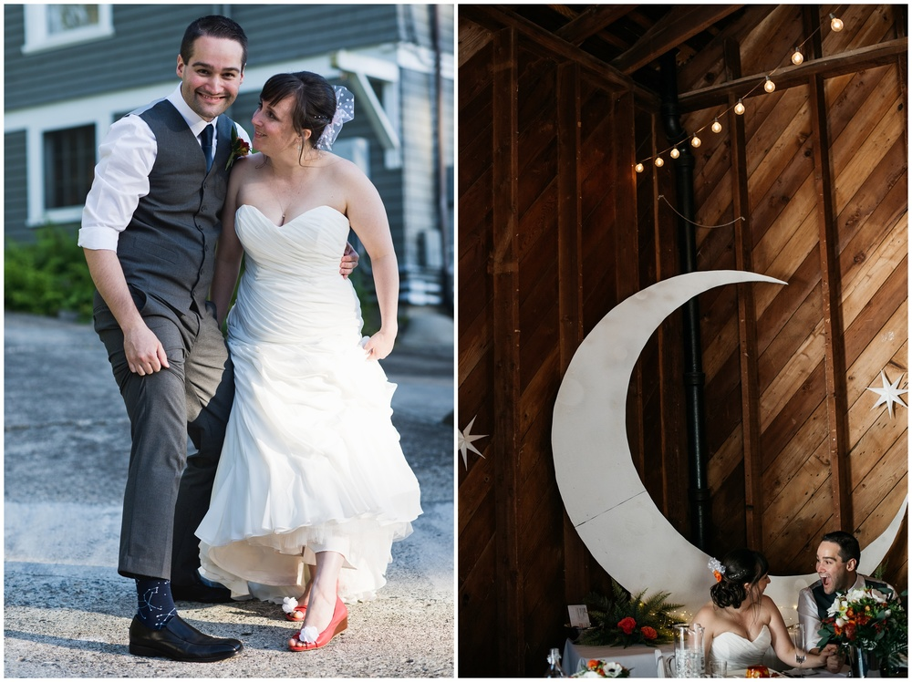 cosmos and constellation theme outdoor wedding photography in Bellingham, Washington on Chuckanut Bay at Woodstock Farm - photography by Sonja K Photography