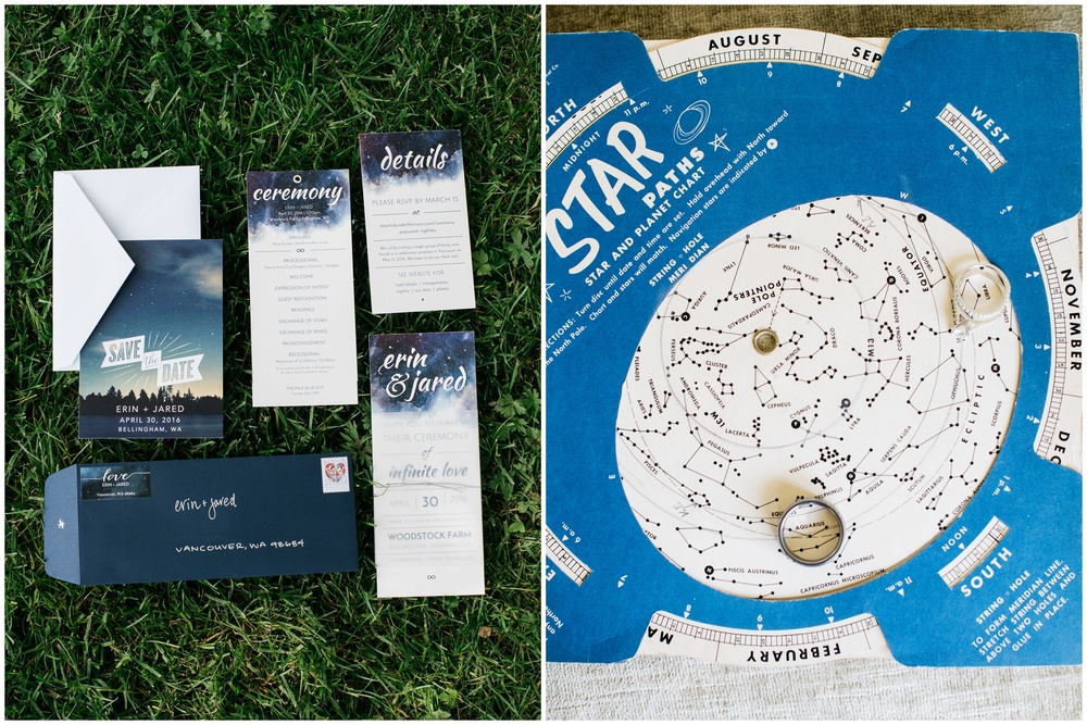 Cosmos themed save the dates and ring shot on a star chart from the Woodstock Farm wedding on Chuckanut Bay in Bellingham, Washington- photography by Sonja Salzburg of Sonja K Photography