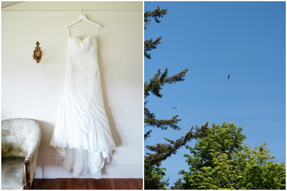 Erin's beautiful dress hanging inside Woodstock Farm on Chuckanut Bay in Bellingham, Washington and eagles flying above the outdoor ceremony site- photography by Sonja Salzburg of Sonja K Photography