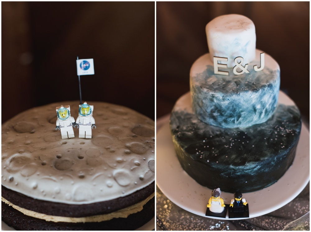 two creative and delicious cakes with the cosmos theme and lego bride and groom - photography by Sonja Salzburg of Sonja K Photography