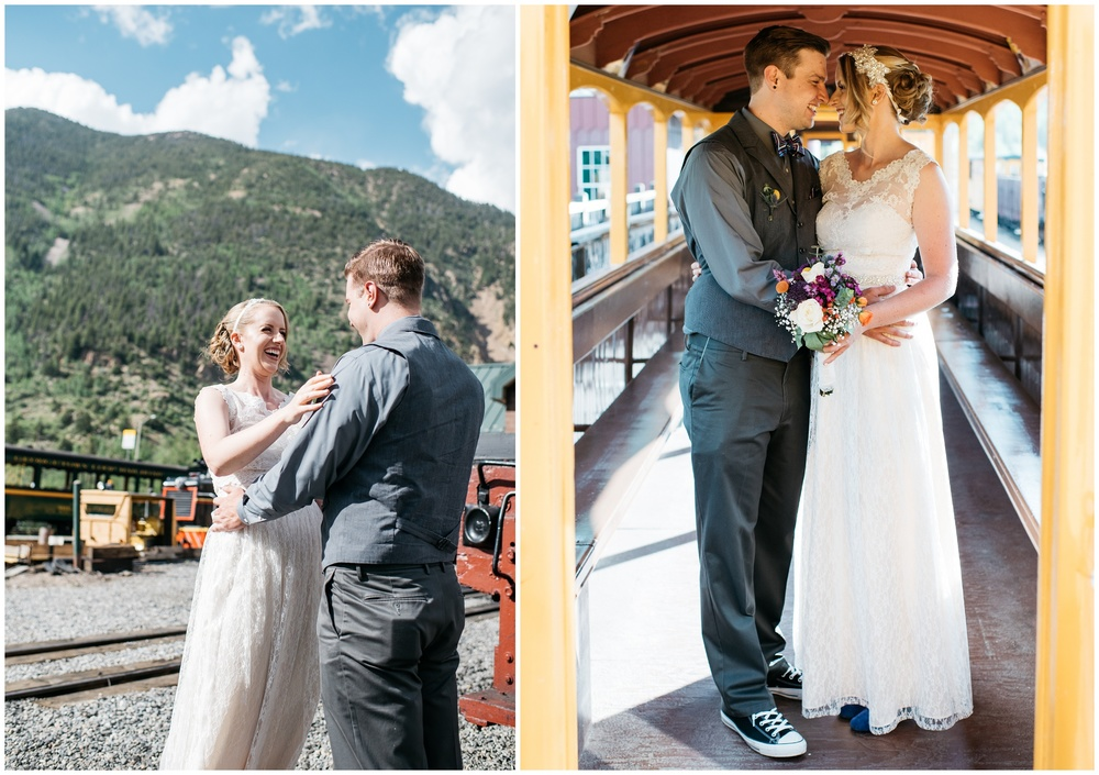 A bride and groom at a historic train yard in Georgetown, Colorado. Wedding photography by Sonja Salzburg of Sonja K Photography.