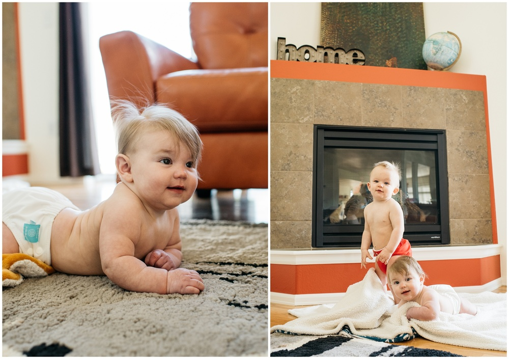 Two adorable babies play on a blanket in their home. Film photography by Sonja Salzburg of Sonja K Photography.
