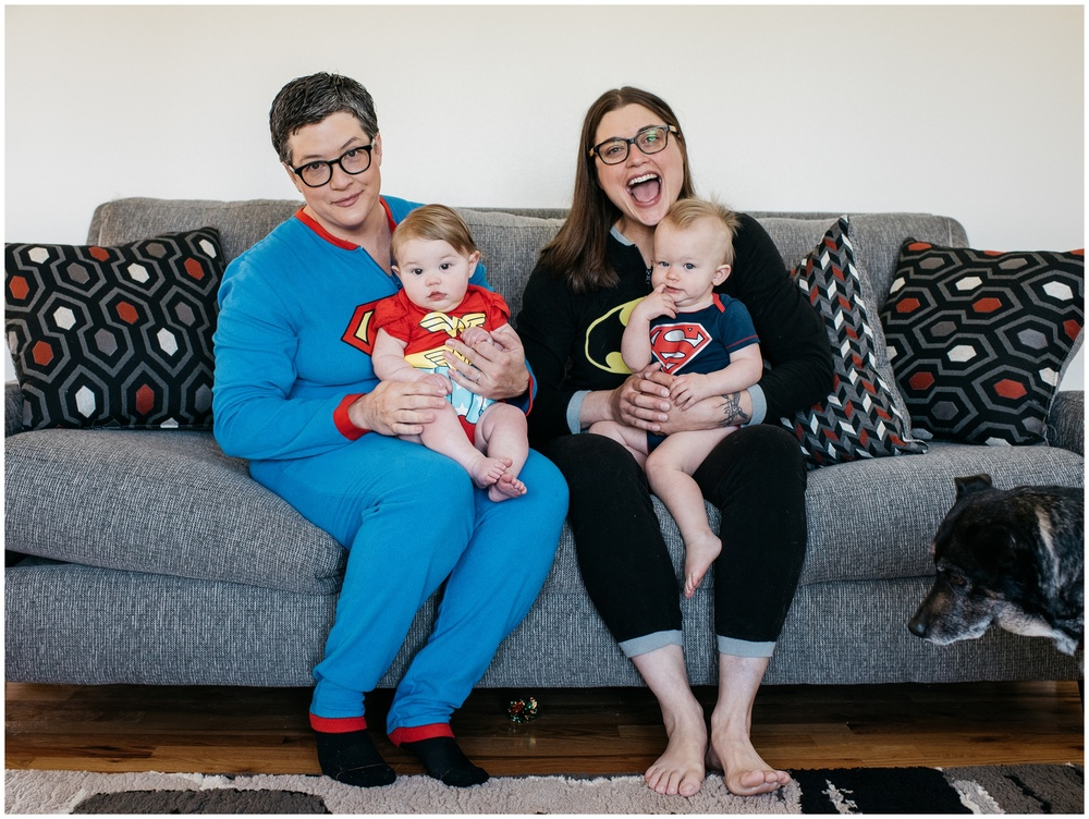 An adorable Colorado family in super hero pajamas. Film family portraits by Sonja Salzburg of Sonja K Photography.