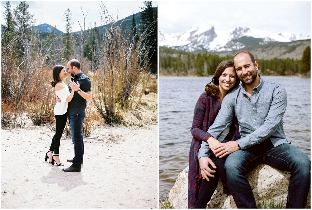 A beautiful young couple on the banks of Sprague Lake in Rocky Mountain National Park, Colorado. Engagement photography by Sonja Salzburg of Sonja K Photography.
