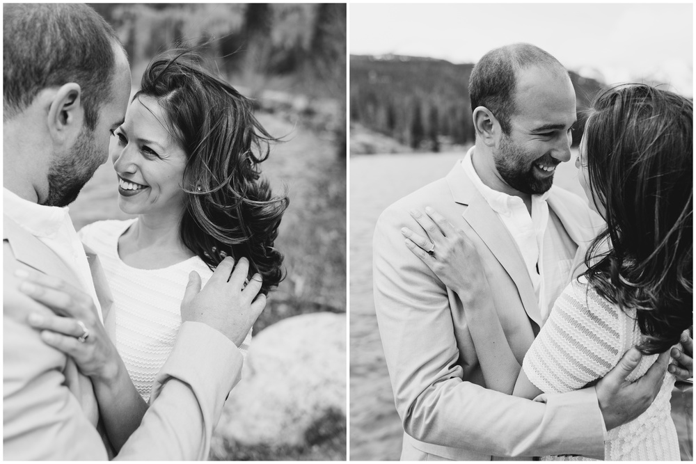 Black and white photos of an engaged couple on the beach at Sprague Lake in Rocky Mountain National Park, Colorado. Engagement photography by Sonja Salzburg of Sonja K Photography.