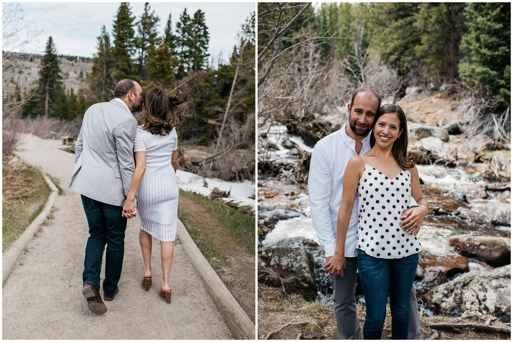 A young loving at Sprague Lake in Rocky Mountain National Park, Colorado. Engagement photography by Sonja Salzburg of Sonja K Photography.