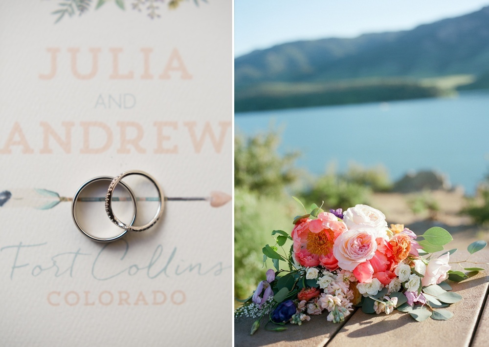 Detail shots of rings and flowers at a wedding at Horsetooth Reservoir in Fort Collins, Colorado. Wedding photography by Sonja Salzburg of Sonja K Photography.