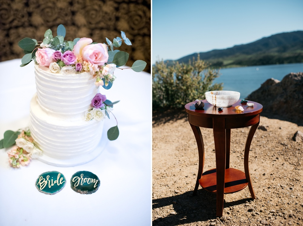 Detail shots from a wedding at Horsetooth Reservoir in Fort Collins, Colorado. Wedding photography by Sonja Salzburg of Sonja K Photography.