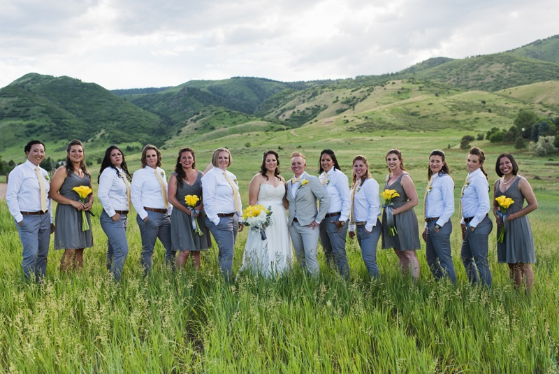 A wedding party along the Colorado Piedmont at The Manor House in Ken-Caryl Ranch. Wedding photography by Sonja Salzburg of Sonja K Photography.